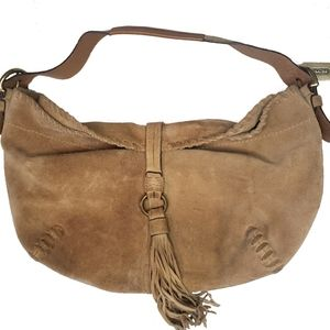 Vintage Coach Whipstitch Brown Suede Hobo